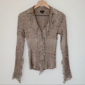 Komarov Lace Button Down Top